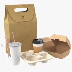 3D real food packaging contains model