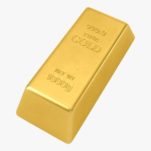 realistic gold bar 3D model