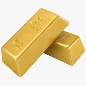 realistic gold bars 3D model