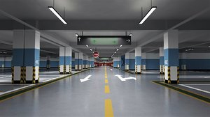 3D interior underground public parking model