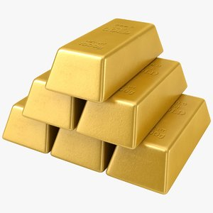 3D model realistic pile gold bars