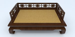 chinese opium bed daybed 3D model