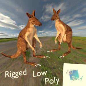 3D rigged kangaroo