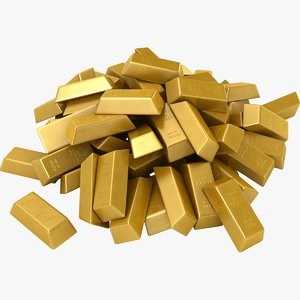 3D realistic gold bars pile model