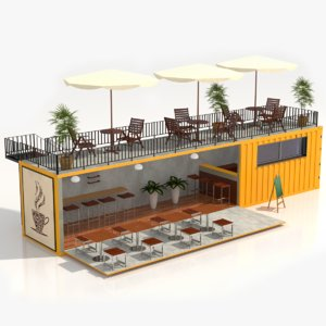 mobile container coffee shop 3D model