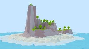 3D cartoon island model