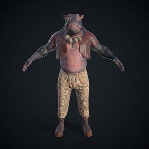 3D hippopotamus character model