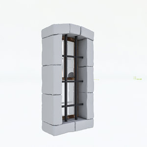 3D old stone window