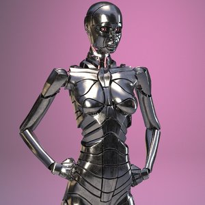 3D rigged female android fully