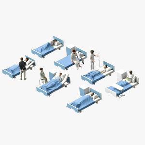 patient hospital bed 3D