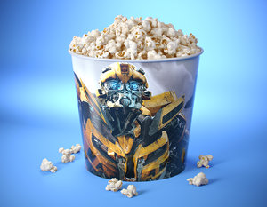 3D popcorn bucket modeled model
