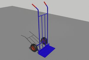 industrial hand trolley 3 3D model