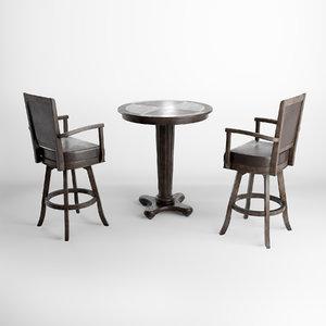 chair table bar furniture 3D model
