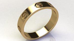 3D model love band ring