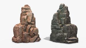 rock 2 pbr mossy stone 3D model