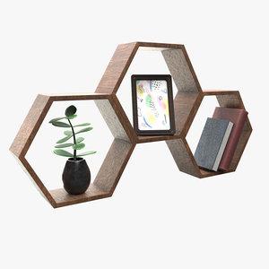 wood shelf geometrical 3D