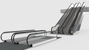 3D escalator moving walkway
