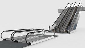3D escalator moving walkway