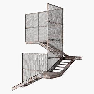 3D old metal stair