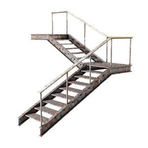 3D model metal stair handrail