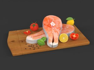 salmon steak vegetables 3D model