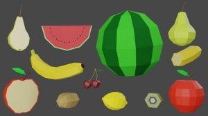 pack fruits apple 3D model