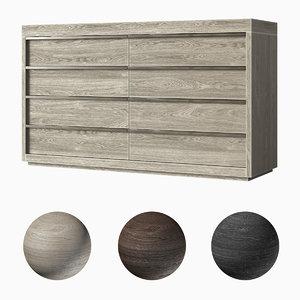 3D restoration bezier 8-drawer dresser