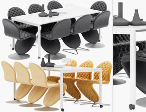 panton table chairs - 3D
