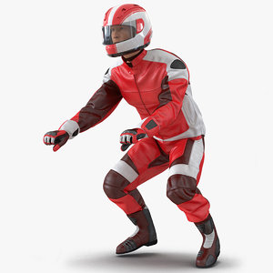 3D motorcycle rider generic 2 model