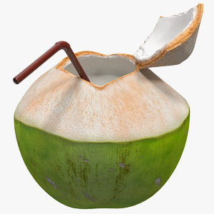 open green coconut straw 3D