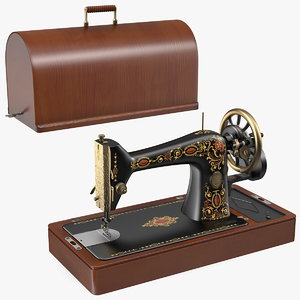 vintage sewing machine wooden 3D model