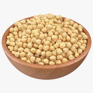 3D model chickpeas beans bowl pea