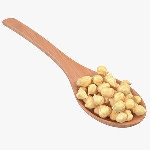 3D model chickpeas beans wooden spoon