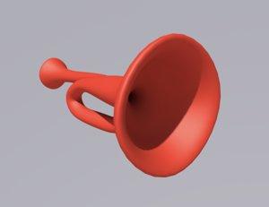 horn vintage retro 3D