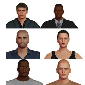 pack people woman rigged 3D model