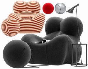 3D armchair serie 2000 model