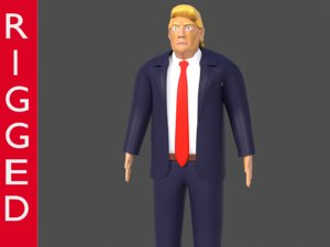 body rigged president donald 3D model