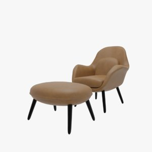 fredericia swoon lounge chair 3D model