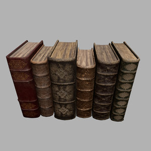old leather books 3D model