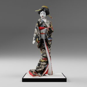 3D model traditional japanese doll