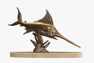 3D sculpture sword fish swordfish model