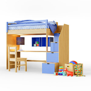 3D childrens bunk bed model