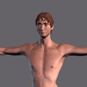 3D model character rigged man