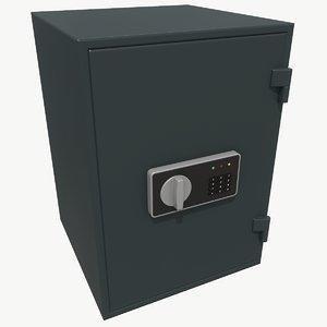 low-poly safe 3D model