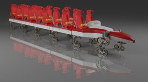 3D thrill dragster train track model