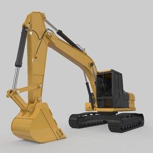 excavator medium rigged 3D