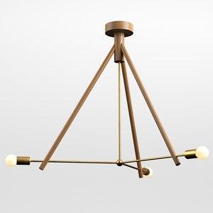 lodge chandelier 3 3D model