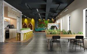 3D working workspace interior scene
