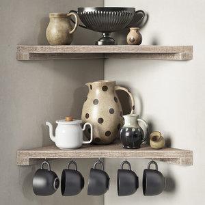 3D model decorative set kitchen -