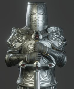 templar knight armor character 3D model